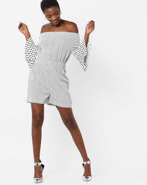 Polka-Dot Print Off-Shoulder Playsuit By AJIO ( Offwhite )