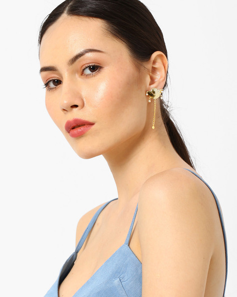 Drop-Earrings With Pearls By AJIO ( Gold )