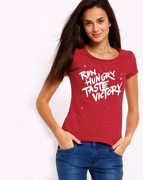 Printed T-shirt With Upturned Sleeve Hems By TEAM SPIRIT ( Red )