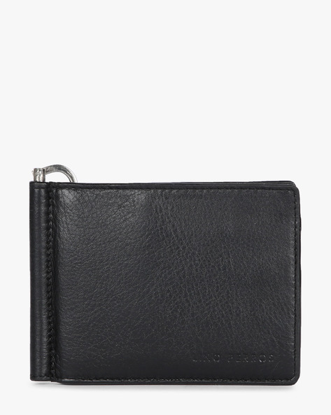 Leather Bi-Fold Wallet With Money Clip By Lino Perros ( Black )