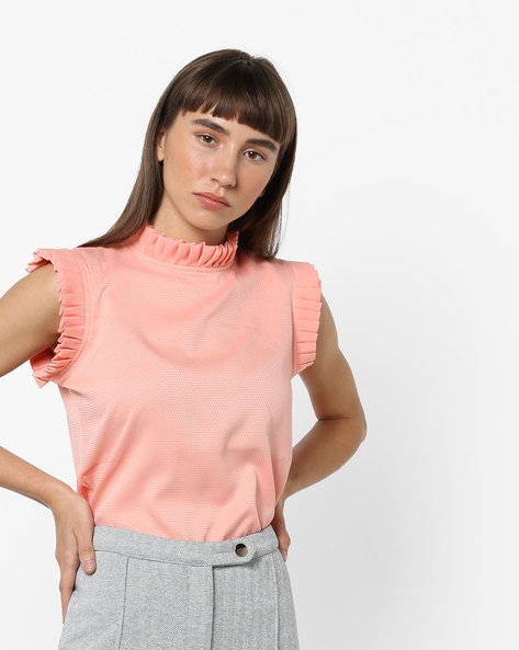 High-Low Top With Ruffled Trims By AJIO ( Pink )