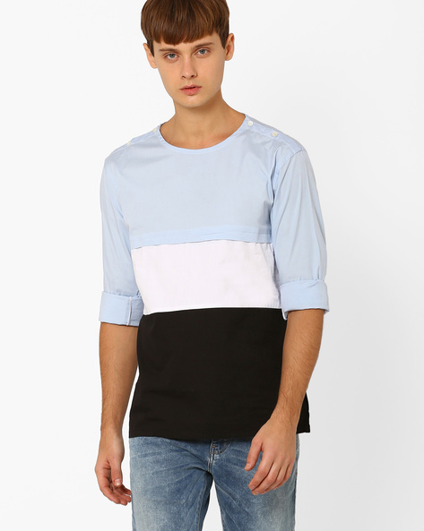 Open-Shoulder Colourblock Cotton Shirt By ANTIFERRO ( Multi )