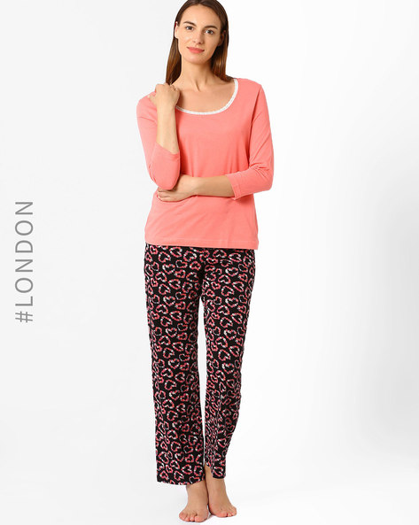 Printed Pure Cotton Lounge Pants By Marks & Spencer ( Black )