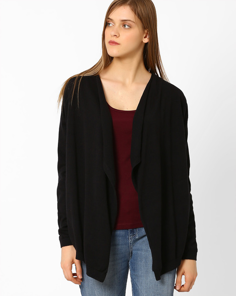 Flat-Knit Waterfall Shrug By AJIO ( Black )