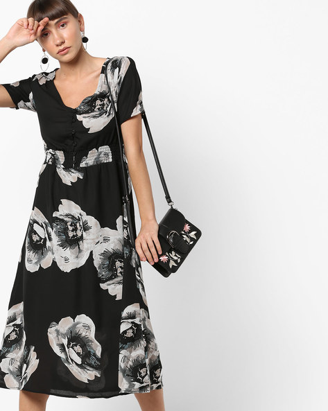 Floral Print Midi Dress By Oxolloxo ( Black )