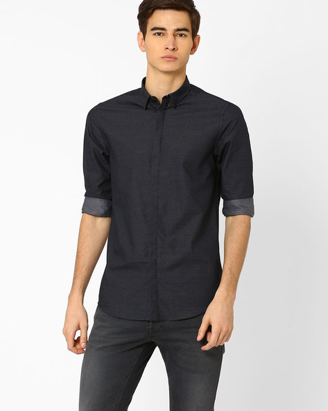 Slim Fit Shirt With Fly-Front Placket By Jack & Jones ( Navy )