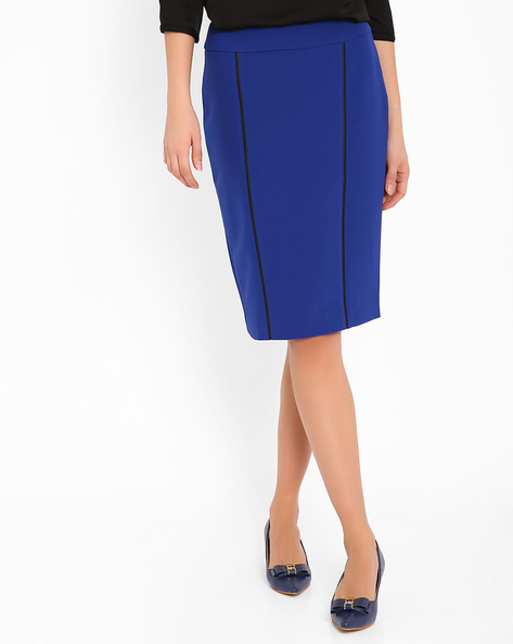Pencil Skirt With Back Slit By AJIO ( Blue )