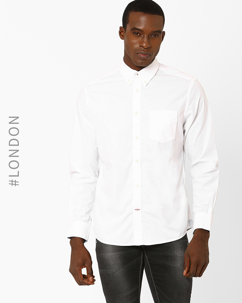 Cotton Poplin Shirt With Patch Pocket By Marks & Spencer ( White )