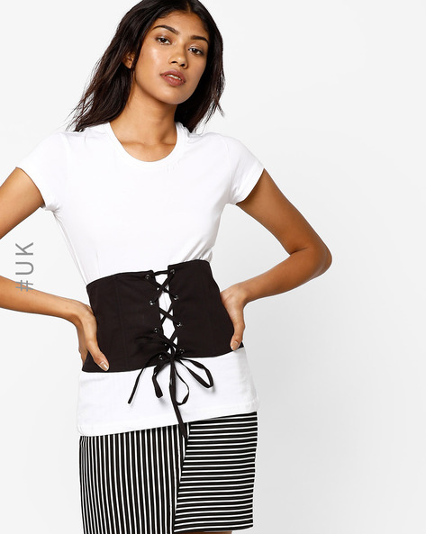 Corset Belt With Lace-Up By NEON ROSE ( Black )