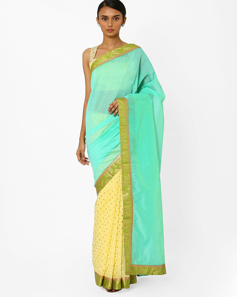 Half & Half Saree With Semi-Stitched Blouse By AJIO ( Yellow )