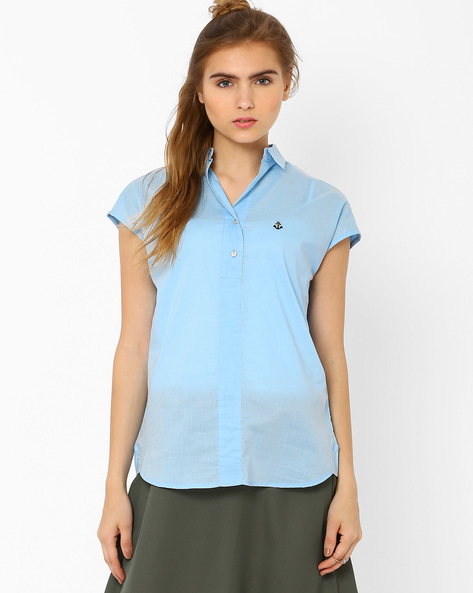 Shirt With High-Low Hem By CHM ( Ltblue )