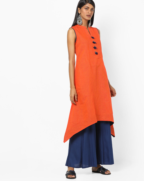 e007b9a5b9c Sleeveless A-line Kurta With Tassels By AVAASA MIX N' MATCH ( Orange )
