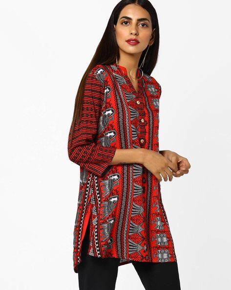 Printed High-Low Kurti By SOCH ( Red )