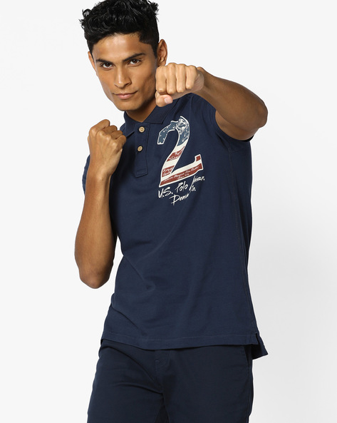 Polo T-shirt With Chest Print By U.S. Polo Assn. ( Denim )