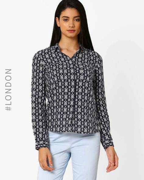 Pure Linen Geometric Print Shirt By Marks & Spencer ( Navyblue )