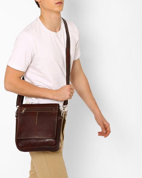 Genuine Leather Messenger Bag By TEAKWOOD LEATHERS ( Drkbrown ) - 460053057001