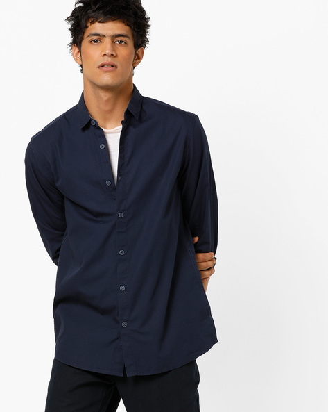 Slim Fit Shirt With Printed Back By AJIO ( Blue )