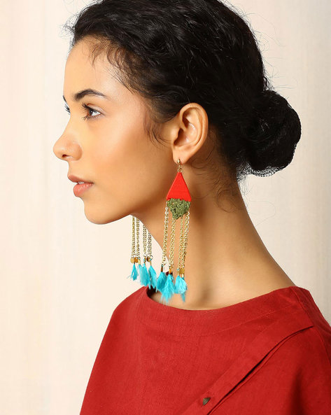 Metal Tassel Drop Earrings With Feathers By Indie Picks ( Multi )
