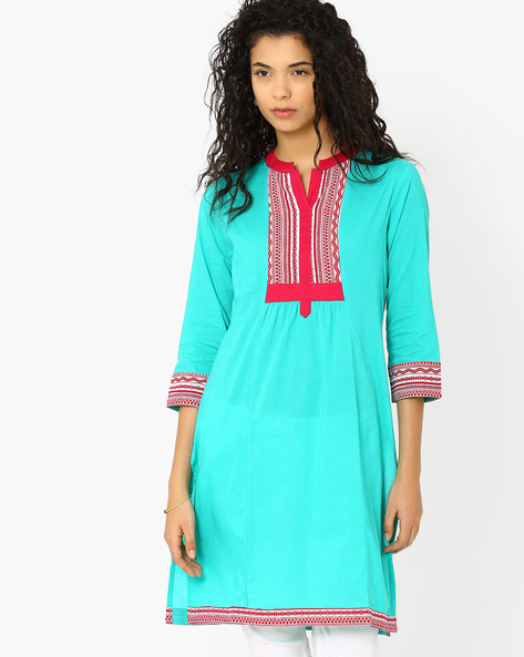Kurta With Contrast Yoke By AJIO ( Blue )