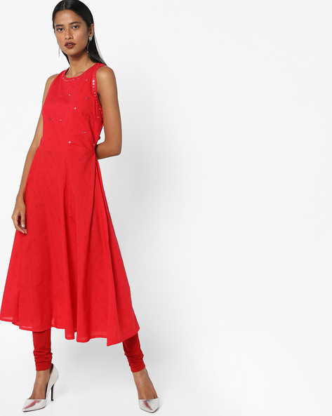 Printed Anarkali With Tie-Ups By AJIO ( Red )