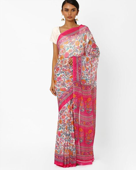 Floral Print Saree With Contrast Border By Akoya ( Rose )