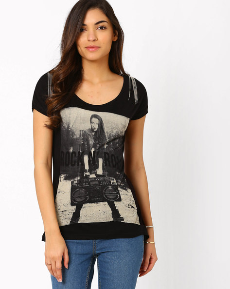 Graphic Print Top By SF Jeans By Pantaloons ( Black )