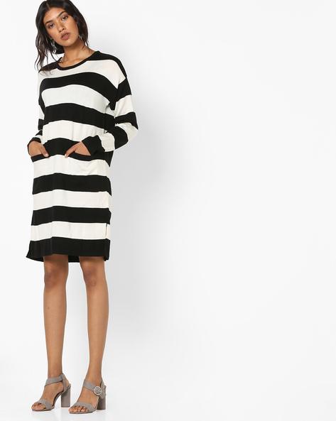 Striped Dress With Insert Pockets By Teamspirit ( Black )