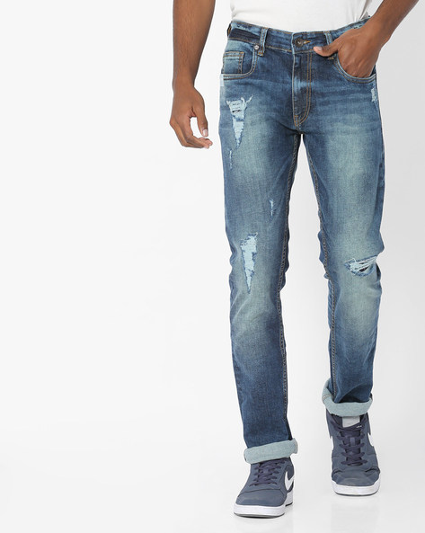 Mid-Washed Distressed Slim Jeans By Pepe Jeans ( Blue )