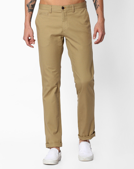 Slim Fit Flat-Front Trousers By INDIAN TERRAIN ( Assorted )