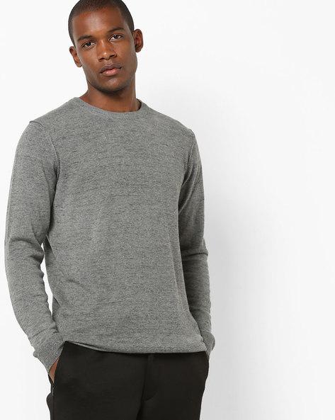 Heathered Crew-Neck Sweatshirt With Ribbed Hems By Jack & Jones ( Grey )