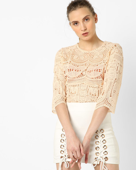 Lace Top With Scalloped Hemline By CODE By Lifestyle ( Beige )