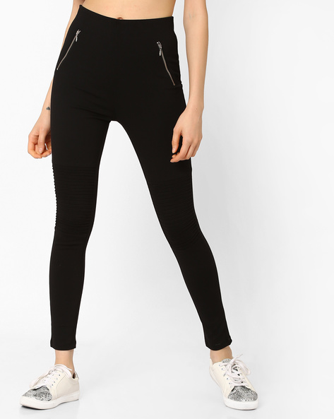 Ankle-Length Leggings With Zippers By CODE By Lifestyle ( Black )