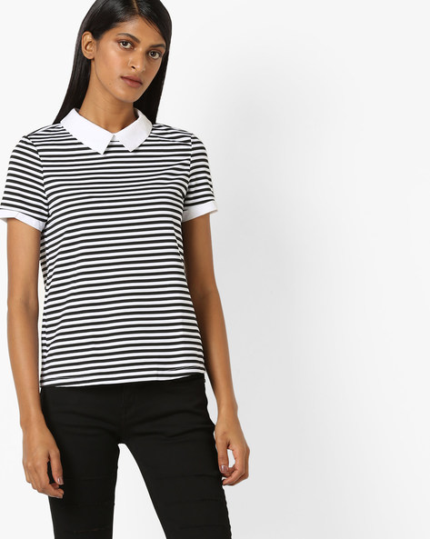 Striped T-shirt With Keyhole Back By Vero Moda ( Black )