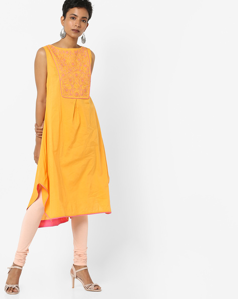 A-line Kurta With Embroidered Yoke By AJIO ( Yellow )