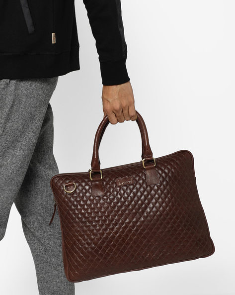Solo Classic Quilted Laptop Bag By JUSTANNED ( Brown )