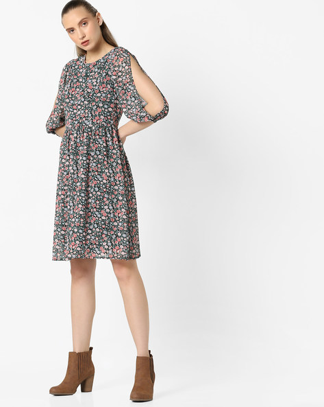 Floral Print Dress With Slit Sleeves By Avirate ( Multi )