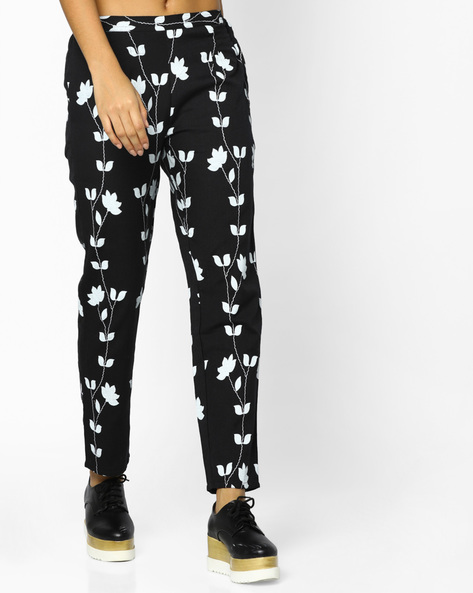 Printed Pants With Elasticated Back By Indian Ink ( Black )
