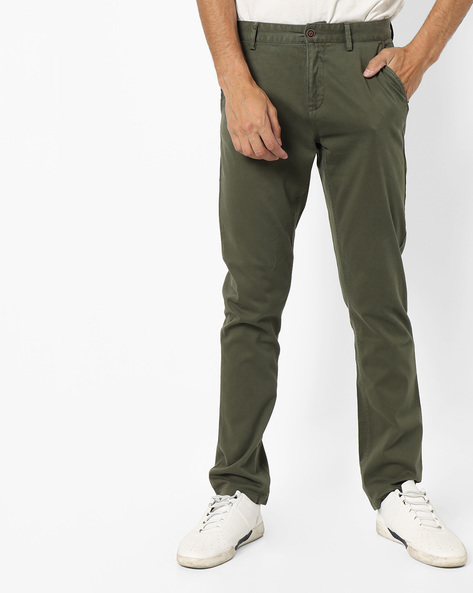 Slim Fit Flat-Front Trousers By AJIO ( Olive )