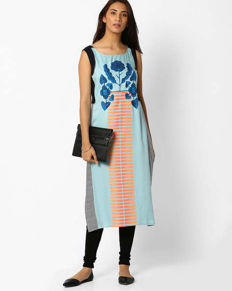 Printed Straight Kurta With Panels By W ( Blue )