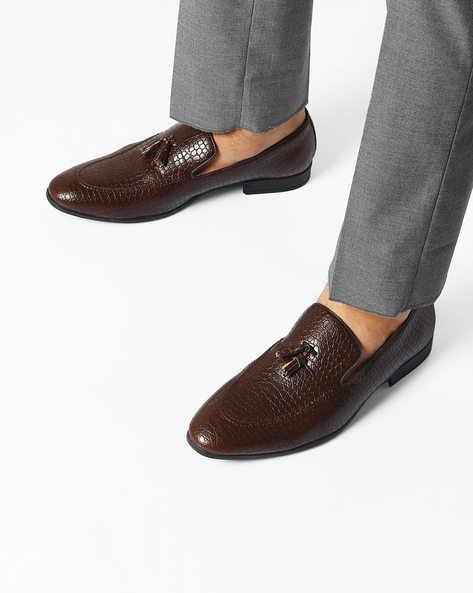 Textured Formal Slip-On Shoes By AJIO ( Brown )