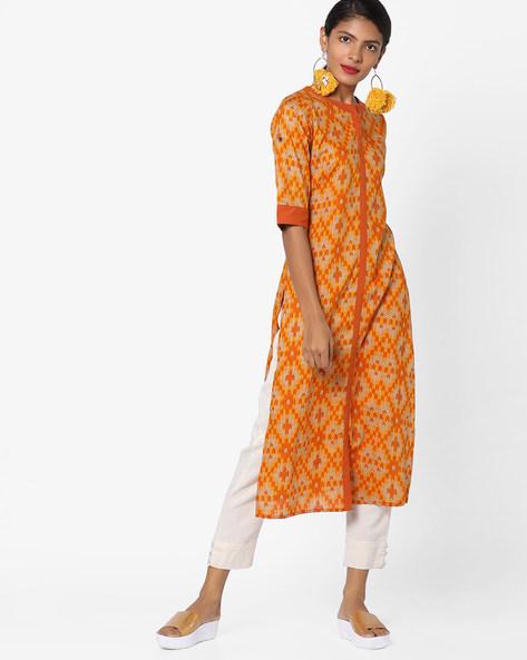 Printed Kurta With Front-Slit Hem By Breya ( Orange )