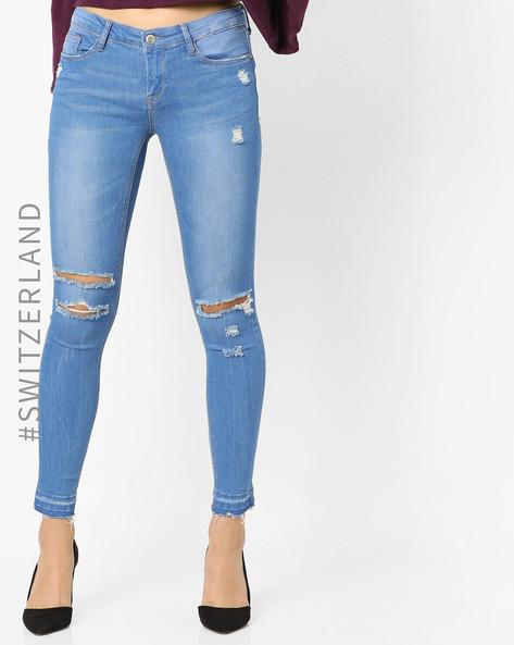 Distressed Skinny Jeans By TALLY WEiJL ( Blue )