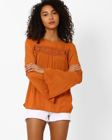 Top With Crochet Inserts By Vero Moda ( Brown )