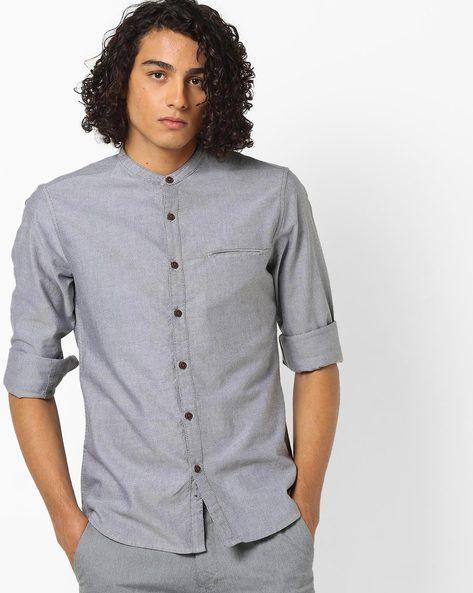 Slim Fit Shirt With Band Collar By AJIO ( Darkkhaki )