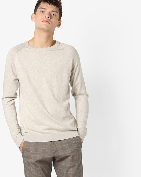 Crew-Neck Pullover With Raglan Sleeves By Jack & Jones ( Grey )