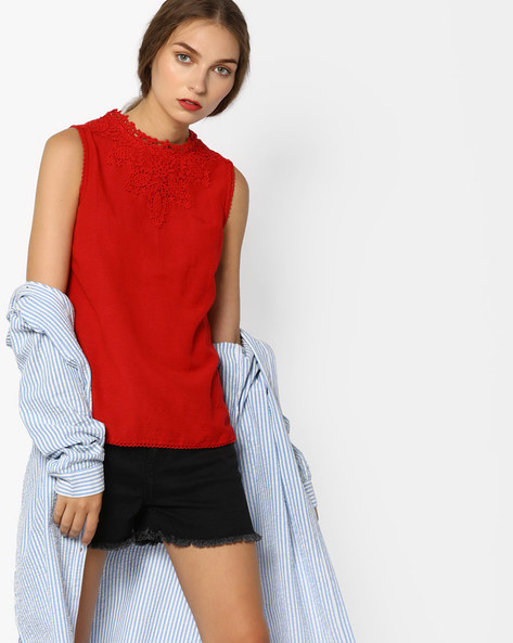 Sleeveless Top With Lace By CODE By Lifestyle ( Red )