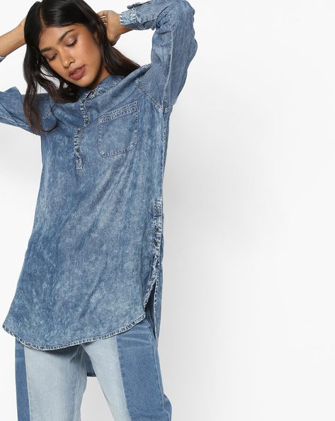 High-Low Tunic With Shirt Collar By Fame Forever By Lifestyle ( Darkwash )
