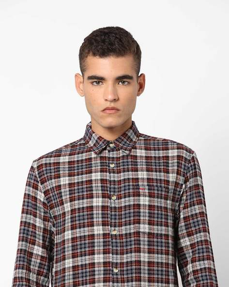 Checked Shirt With Patch Pocket By Jack & Jones ( Red )