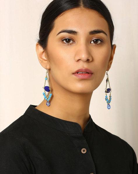 Beaded Dangler Earrings By Indie Picks ( Blue )