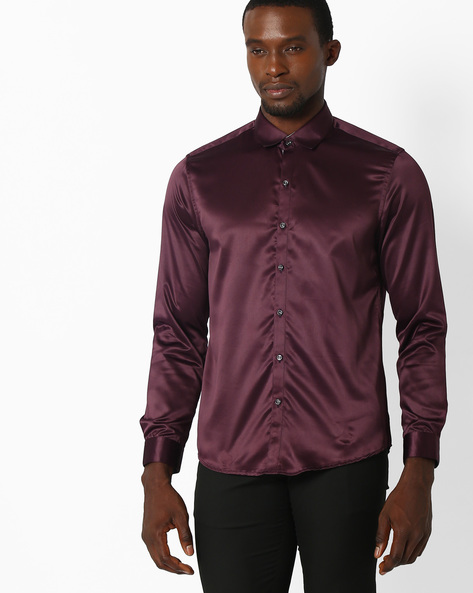 Regular Fit Formal Shirt By NETWORK ( Purple )